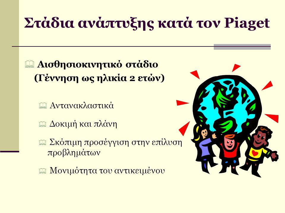 Στάδια ανάπτυξης κατά τον Piaget  Αισθησιοκινητικό στάδιο (Γέννηση ως ηλικία 2 ετών)  Αντανακλαστικά  Δοκιμή και πλάνη  Σκόπιμη προσέγγιση στην επ