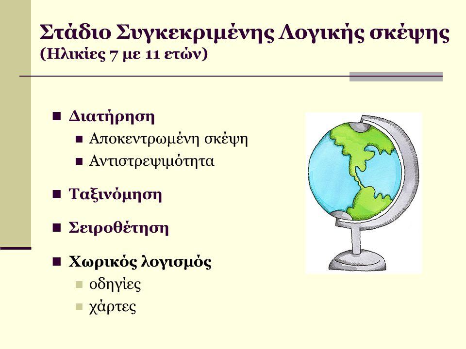 Στάδιο Συγκεκριμένης Λογικής σκέψης (Ηλικίες 7 με 11 ετών) Διατήρηση Αποκεντρωμένη σκέψη Αντιστρεψιμότητα Ταξινόμηση Σειροθέτηση Χωρικός λογισμός οδηγ