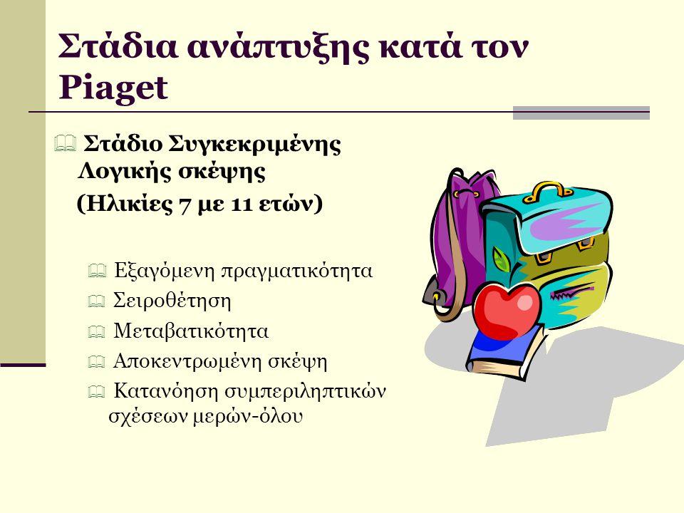  Στάδιο Τυπικής Λογικής σκέψης (11 ετών ως ενηλικίωση)  Χειρισμός δυνητικών ή υποθετικών καταστάσεων  Συστηματική λογική  Σχηματισμός εννοιών ανεξάρτητων από τη φυσική πραγματικότητα Στάδια ανάπτυξης κατά τον Piaget