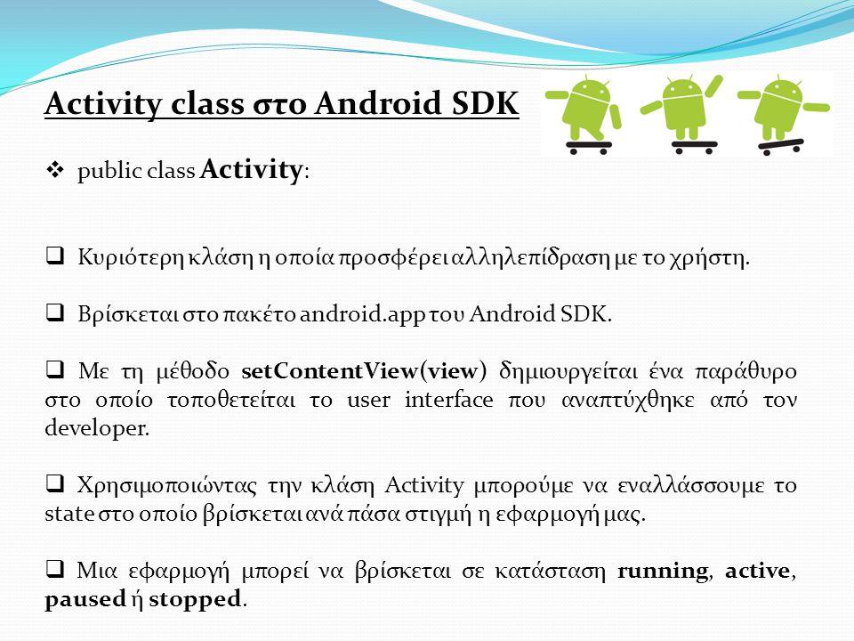 Activity class στο Android SDK  public class Activity :  Κυριότερη κλάση η οποία προσφέρει αλληλεπίδραση με το χρήστη.