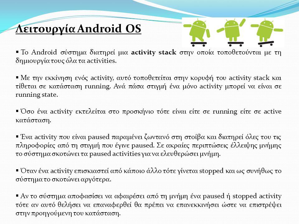 Λειτουργία Android OS  To Android σύστημα διατηρεί μια activity stack στην οποία τοποθετούνται με τη δημιουργία τους όλα τα activities.