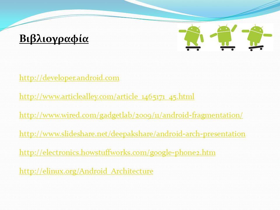 Βιβλιογραφία http://developer.android.com http://www.articlealley.com/article_1465171_45.html http://www.wired.com/gadgetlab/2009/11/android-fragmentation/ http://www.slideshare.net/deepakshare/android-arch-presentation http://electronics.howstuffworks.com/google-phone2.htm http://elinux.org/Android_Architecture