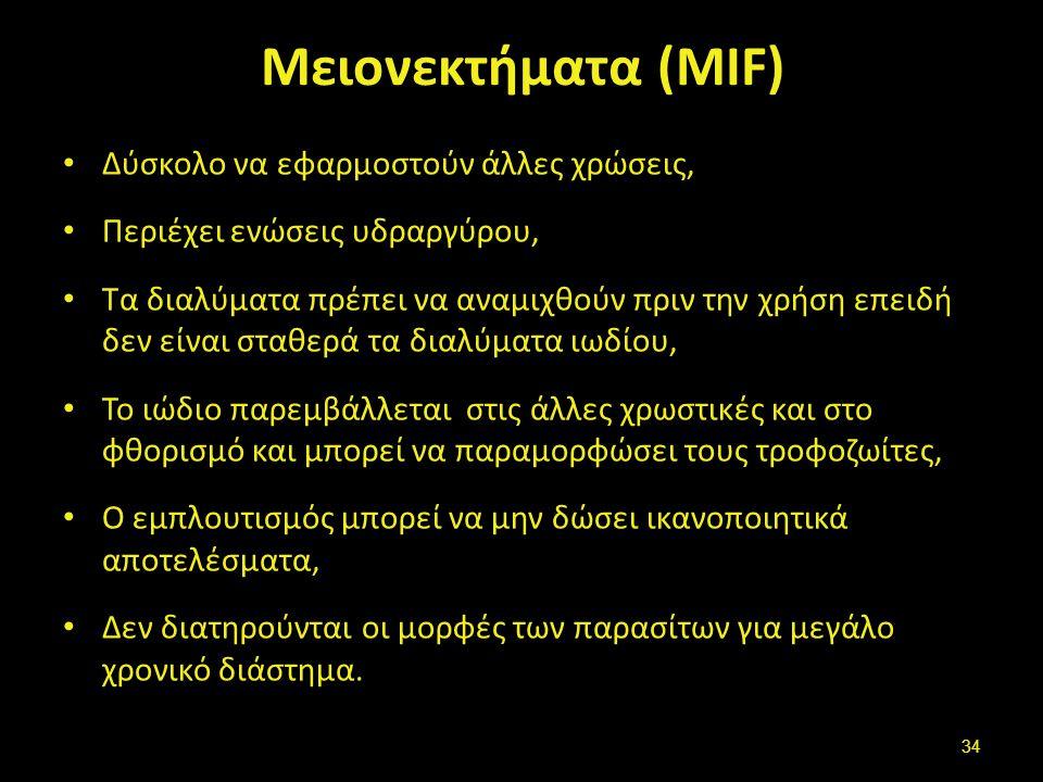 Μειονεκτήματα (MIF) Δύσκολο να εφαρμοστούν άλλες χρώσεις, Περιέχει ενώσεις υδραργύρου, Τα διαλύματα πρέπει να αναμιχθούν πριν την χρήση επειδή δεν είν