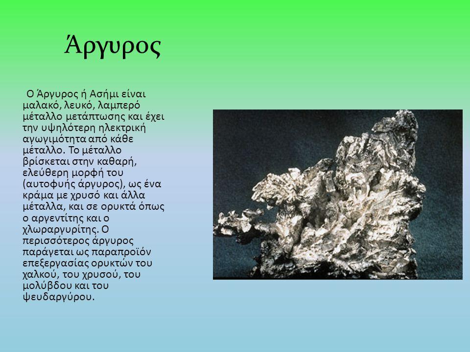 Ο Άργυρος ή Ασήμι είναι μαλακό, λευκό, λαμπερό μέταλλο μετάπτωσης και έχει την υψηλότερη ηλεκτρική αγωγιμότητα από κάθε μέταλλο.