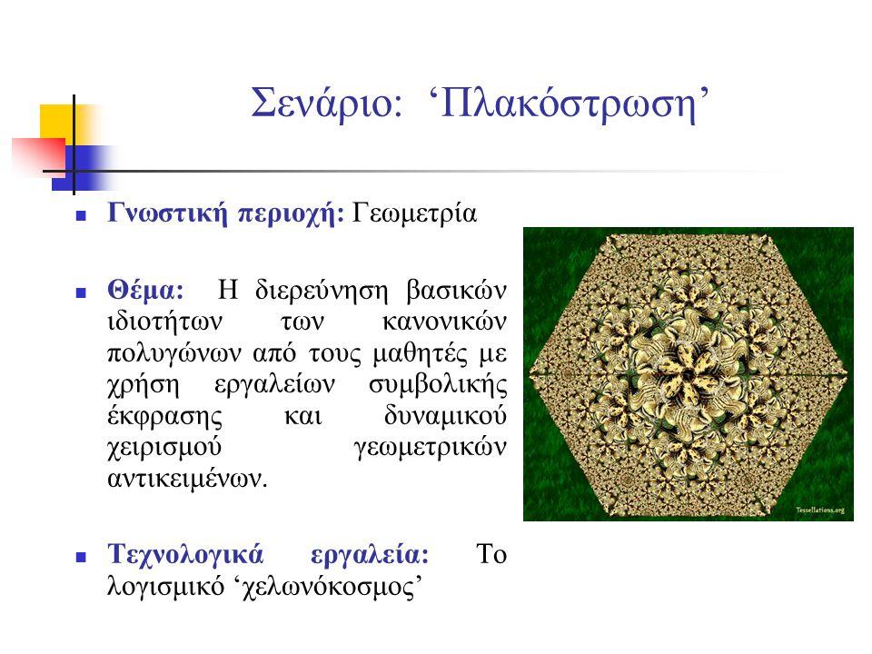 Σενάριο: 'Πλακόστρωση' Γνωστική περιοχή: Γεωμετρία Θέμα: Η διερεύνηση βασικών ιδιοτήτων των κανονικών πολυγώνων από τους μαθητές με χρήση εργαλείων συ