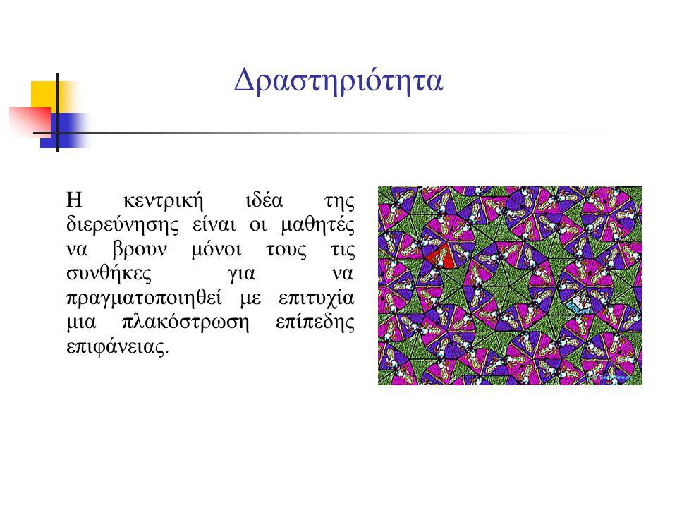 Β' φάση Θα πλακοστρώσουμε μια επίπεδη επιφάνεια χρησιμοποιώντας ίσα κανονικά πολύγωνα.