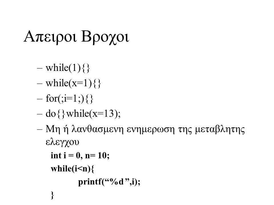 Απειροι Βροχοι –while(1){} –while(x=1){} –for(;i=1;){} –do{}while(x=13); –Μη ή λανθασμενη ενημερωση της μεταβλητης ελεγχου int i = 0, n= 10; while(i<n