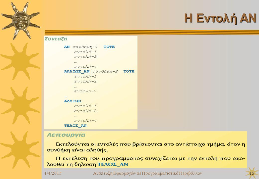 1/4/2015Ανάπτυξη Εφαρμογών σε Προγραμματιστικό Περιβάλλον15 Η Εντολή ΑΝ