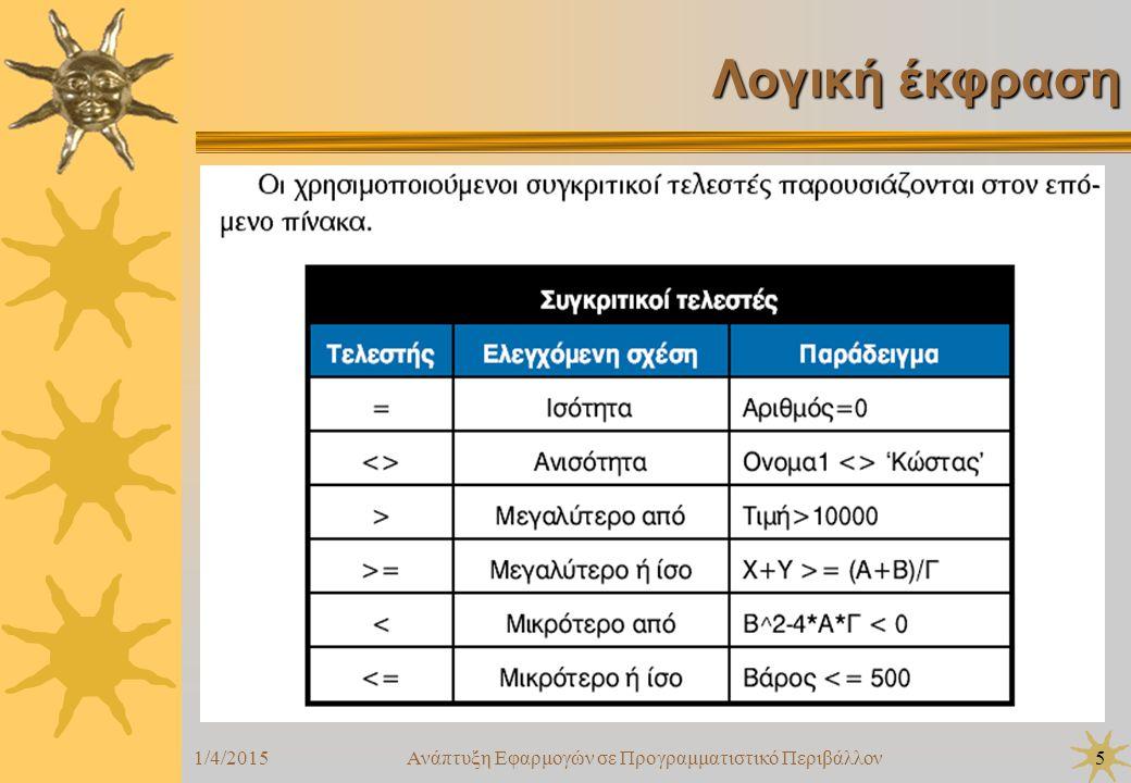 1/4/2015Ανάπτυξη Εφαρμογών σε Προγραμματιστικό Περιβάλλον6 Λογική έκφραση  Οταν αριθμητικοί και συγκριτικοί τελεστές συνδυάζονται σε μια έκφραση, οι αριθμητικές πράξεις εκτελούνται πρώτες  Ακόμη, οι λογικοί τελεστές έχουν χαμηλότερη ιεραρχία από τους συγκριτικούς