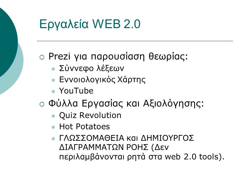 Εργαλεία WEB 2.0  Prezi για παρουσίαση θεωρίας: Σύννεφο λέξεων Εννοιολογικός Χάρτης YouTube  Φύλλα Εργασίας και Αξιολόγησης: Quiz Revolution Hot Potatoes ΓΛΩΣΣΟΜΑΘΕΙΑ και ΔΗΜΙΟΥΡΓΟΣ ΔΙΑΓΡΑΜΜΑΤΩΝ ΡΟΗΣ (Δεν περιλαμβάνονται ρητά στα web 2.0 tools).