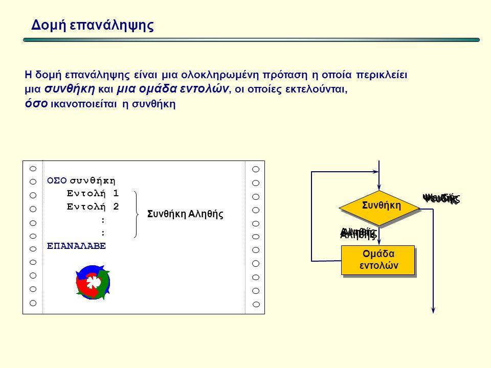 Δομή επανάληψης Η δομή επανάληψης είναι μια ολοκληρωμένη πρόταση η οποία περικλείει μια συνθήκη και μια ομάδα εντολών, οι οποίες εκτελούνται, όσο ικανοποιείται η συνθήκη ΟΣΟ συνθήκη Εντολή 1 Εντολή 2 : ΕΠΑΝΑΛΑΒΕ Oμάδα εντολών Συνθήκη Ψευδής Αληθής Ψευδής Συνθήκη Αληθής