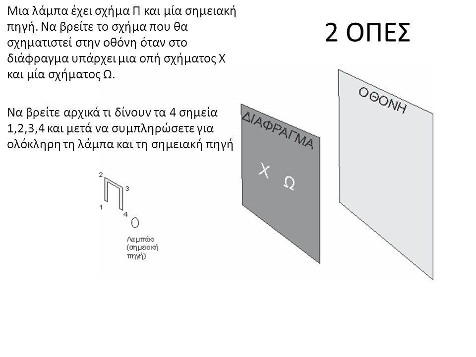 2 ΟΠΕΣ Μια λάμπα έχει σχήμα Π και μία σημειακή πηγή. Να βρείτε το σχήμα που θα σχηματιστεί στην οθόνη όταν στο διάφραγμα υπάρχει μια οπή σχήματος X κα