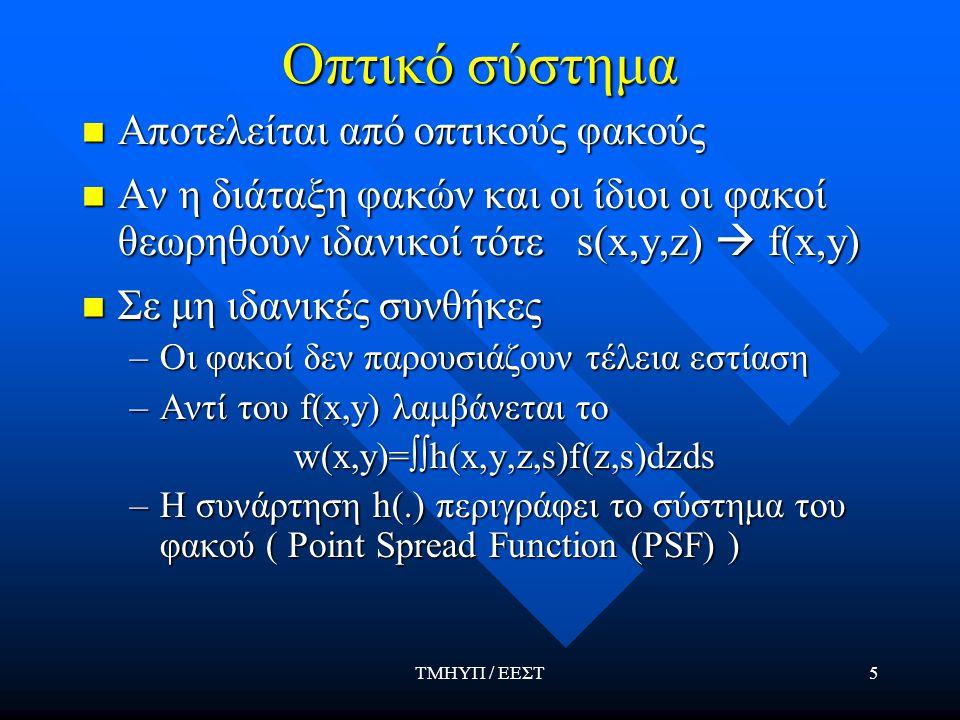 ΤΜΗΥΠ / ΕΕΣΤ16 Γενικό μοντέλο καταγραφής εικόνας Γενικό μοντέλο για το σύστημα καταγραφής Γενικό μοντέλο για το σύστημα καταγραφής F(x,y)=k[w(x,y)] δ +{k[w(x,y)] δ } 0.5 n(x,y)+n w (x,y)