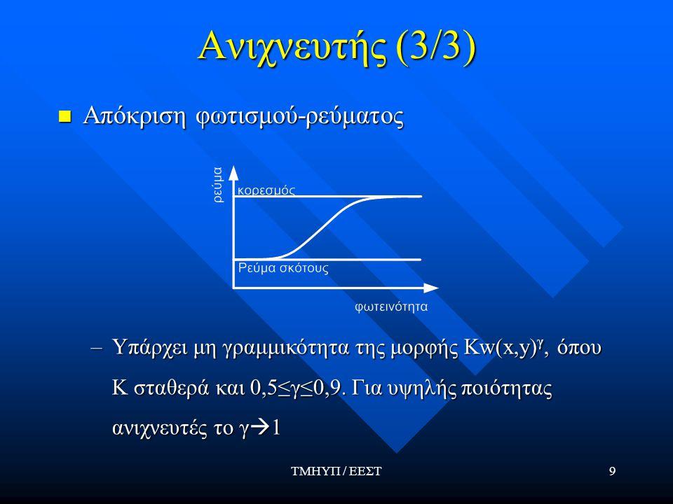 ΤΜΗΥΠ / ΕΕΣΤ10 Ψηφιοποιητής (1/2) Το σήμα i(x,y) μετατρέπεται στο ψηφιακό σήμα F(x 1,x 2 ) Το σήμα i(x,y) μετατρέπεται στο ψηφιακό σήμα F(x 1,x 2 ) Εάν το i(x,y) είναι διακριτό (όπως σε CCD arrays) τότε έχουμε μόνον κβαντισμό Εάν το i(x,y) είναι διακριτό (όπως σε CCD arrays) τότε έχουμε μόνον κβαντισμό Αποτελείται από έναν A/D μετατροπέα Αποτελείται από έναν A/D μετατροπέα –Τα δείγματα F(x 1,x 2 ) που παράγονται ονομάζονται εικονοστοιχεία –Πλήθος εικονοστοιχείων (μέχρι Ο(100MP) ) –B bits/εικονοστοιχείο στις ασπρόμαυρες –3Β bits/εικονοστοιχείο στις έγχρωμες RGB