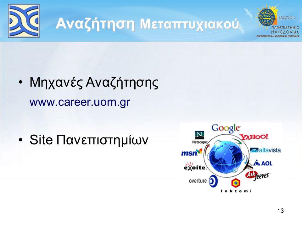 13 Αναζήτηση Μεταπτυχιακού Μηχανές Αναζήτησης www.career.uom.gr Site Πανεπιστημίων
