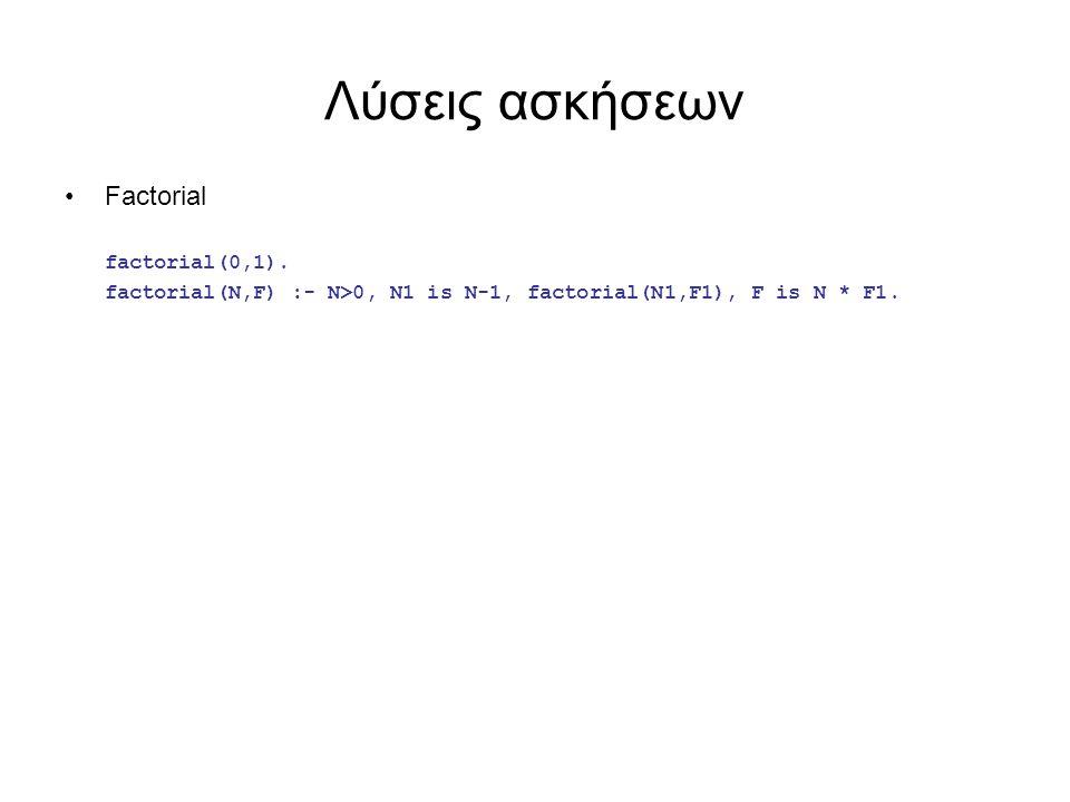 Λύσεις ασκήσεων Factorial factorial(0,1). factorial(N,F) :- N>0, N1 is N-1, factorial(N1,F1), F is N * F1.