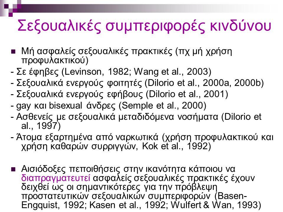 Σεξουαλικές συμπεριφορές κινδύνου Μή ασφαλείς σεξουαλικές πρακτικές (πχ μή χρήση προφυλακτικού) - Σε έφηβες (Levinson, 1982; Wang et al., 2003) - Σεξουαλικά ενεργούς φοιτητές (Dilorio et al., 2000a, 2000b) - Σεξουαλικά ενεργούς εφήβους (Dilorio et al., 2001) - gay και bisexual άνδρες (Semple et al., 2000) - Ασθενείς με σεξουαλικά μεταδιδόμενα νοσήματα (Dilorio et al., 1997) - Άτομα εξαρτημένα από ναρκωτικά (χρήση προφυλακτικού και χρήση καθαρών συρριγγών, Kok et al., 1992) Αισιόδοξες πεποιθήσεις στην ικανότητα κάποιου να διαπραγματευτεί ασφαλείς σεξουαλικές πρακτικές έχουν δειχθεί ως οι σημαντικότερες για την πρόβλεψη προστατευτικών σεξουαλικών συμπεριφορών (Basen- Engquist, 1992; Kasen et al., 1992; Wulfert & Wan, 1993)