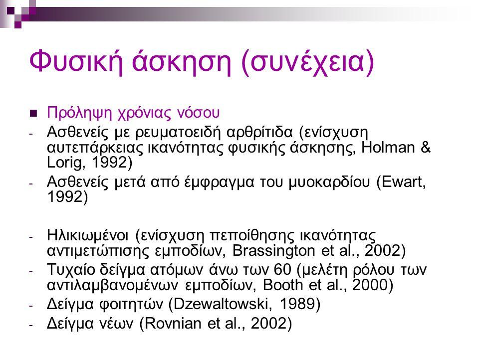 Φυσική άσκηση (συνέχεια) Πρόληψη χρόνιας νόσου - Ασθενείς με ρευματοειδή αρθρίτιδα (ενίσχυση αυτεπάρκειας ικανότητας φυσικής άσκησης, Holman & Lorig, 1992) - Ασθενείς μετά από έμφραγμα του μυοκαρδίου (Ewart, 1992) - Ηλικιωμένοι (ενίσχυση πεποίθησης ικανότητας αντιμετώπισης εμποδίων, Brassington et al., 2002) - Τυχαίο δείγμα ατόμων άνω των 60 (μελέτη ρόλου των αντιλαμβανομένων εμποδίων, Booth et al., 2000) - Δείγμα φοιτητών (Dzewaltowski, 1989) - Δείγμα νέων (Rovnian et al., 2002)