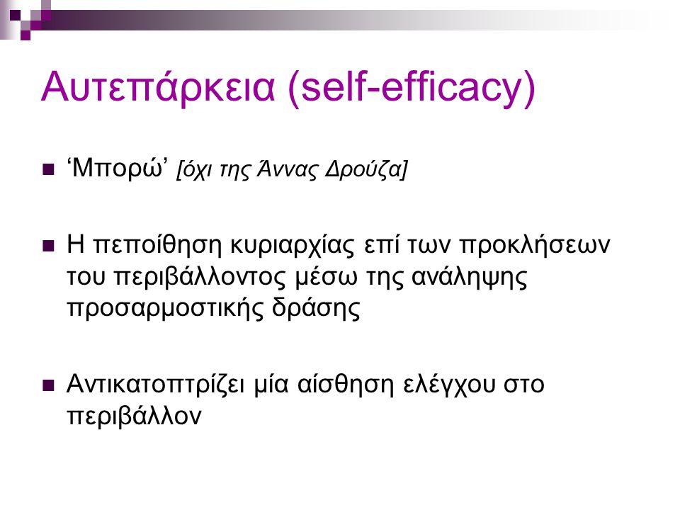 Αυτεπάρκεια (self-efficacy) 'Μπορώ' [όχι της Άννας Δρούζα] Η πεποίθηση κυριαρχίας επί των προκλήσεων του περιβάλλοντος μέσω της ανάληψης προσαρμοστικής δράσης Αντικατοπτρίζει μία αίσθηση ελέγχου στο περιβάλλον