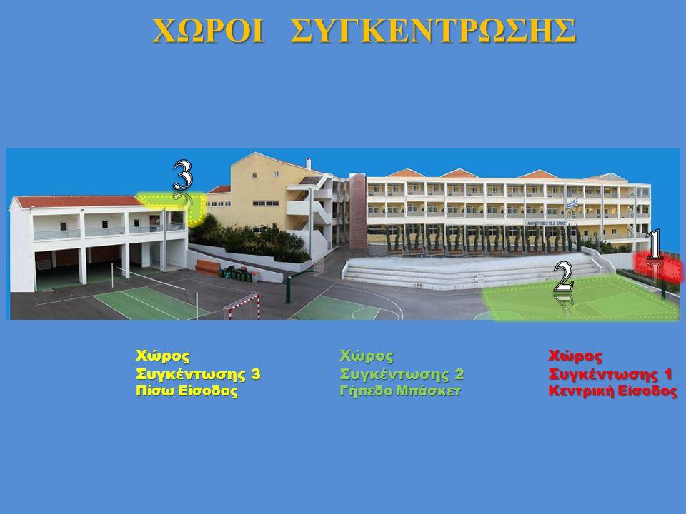 Χώρος Συγκέντρωσης 1 Κεντρική Είσοδος Χώρος Συγκέντρωσης 2 Γήπεδο Μπάσκετ Χώρος Συγκέντρωσης 3 Πίσω Είσοδος ΧΩΡΟΙ ΣΥΓΚΕΝΤΡΩΣΗΣ