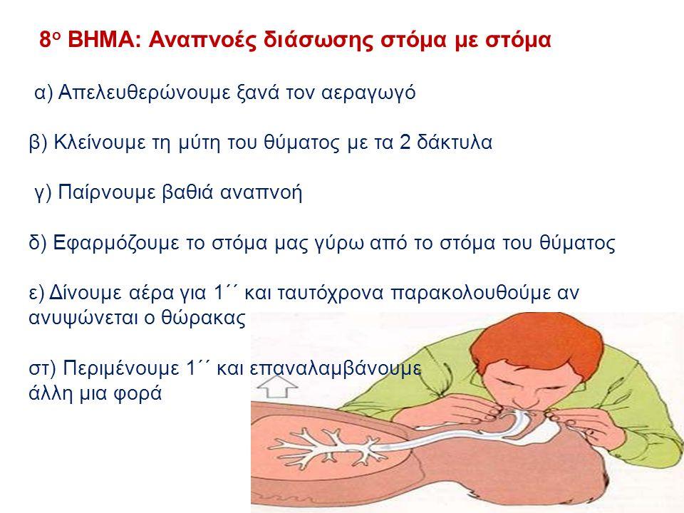8 ο ΒΗΜΑ: Αναπνοές διάσωσης στόμα με στόμα α) Απελευθερώνουμε ξανά τον αεραγωγό β) Κλείνουμε τη μύτη του θύματος με τα 2 δάκτυλα γ) Παίρνουμε βαθιά αν