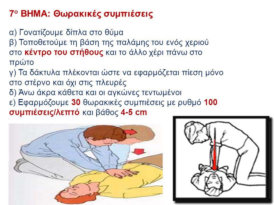 7 ο ΒΗΜΑ: Θωρακικές συμπιέσεις α) Γονατίζουμε δίπλα στο θύμα β) Τοποθετούμε τη βάση της παλάμης του ενός χεριού στο κέντρο του στήθους και το άλλο χέρ
