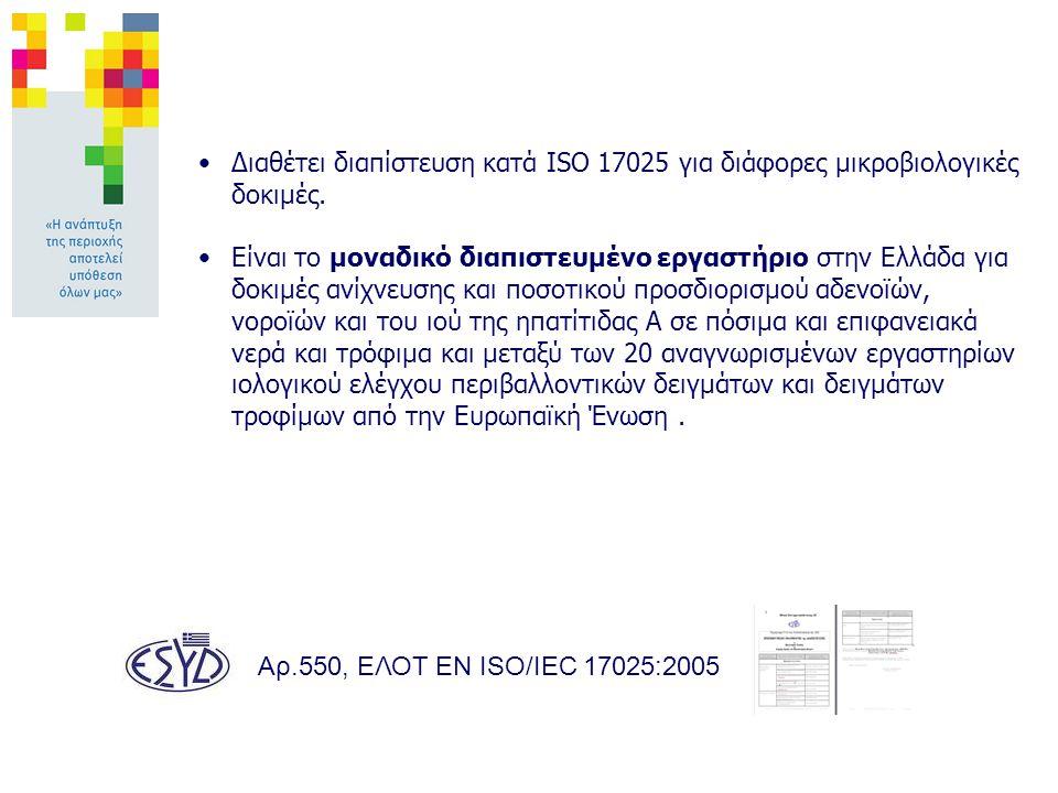 Αρ.550, ΕΛΟΤ EN ISO/IEC 17025:2005 Διαθέτει διαπίστευση κατά ISO 17025 για διάφορες μικροβιολογικές δοκιμές.