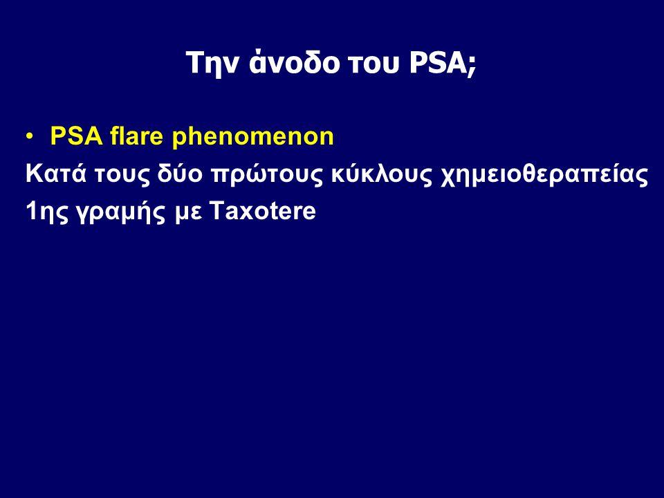 Την άνοδο του PSA; PSA flare phenomenon Κατά τους δύο πρώτους κύκλους χημειοθεραπείας 1ης γραμής με Taxotere