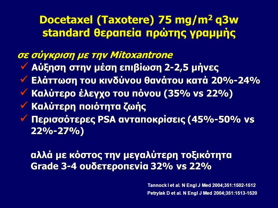 Docetaxel (Taxotere) 75 mg/m 2 q3w standard θεραπεία πρώτης γραμμής σε σύγκριση με την Mitoxantrone Αύξηση στην μέση επιβίωση 2-2,5 μήνες Αύξηση στην