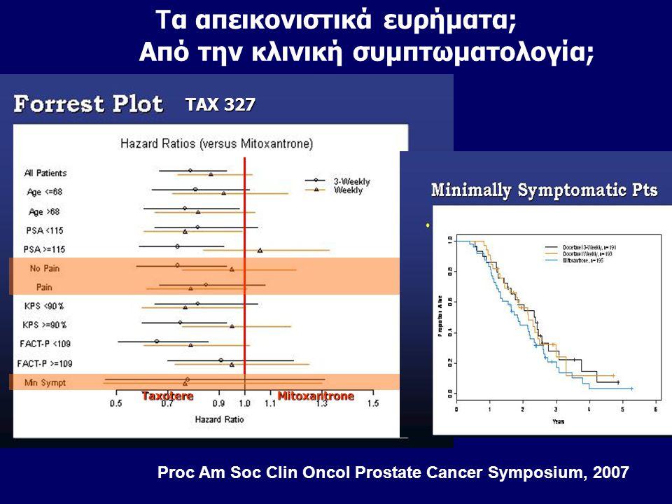 MitoxantroneTaxotere TAX 327 Proc Am Soc Clin Oncol Prostate Cancer Symposium, 2007 Τ α απεικονιστικά ευρήματα; Από την κλινική συμπτωματολογία;