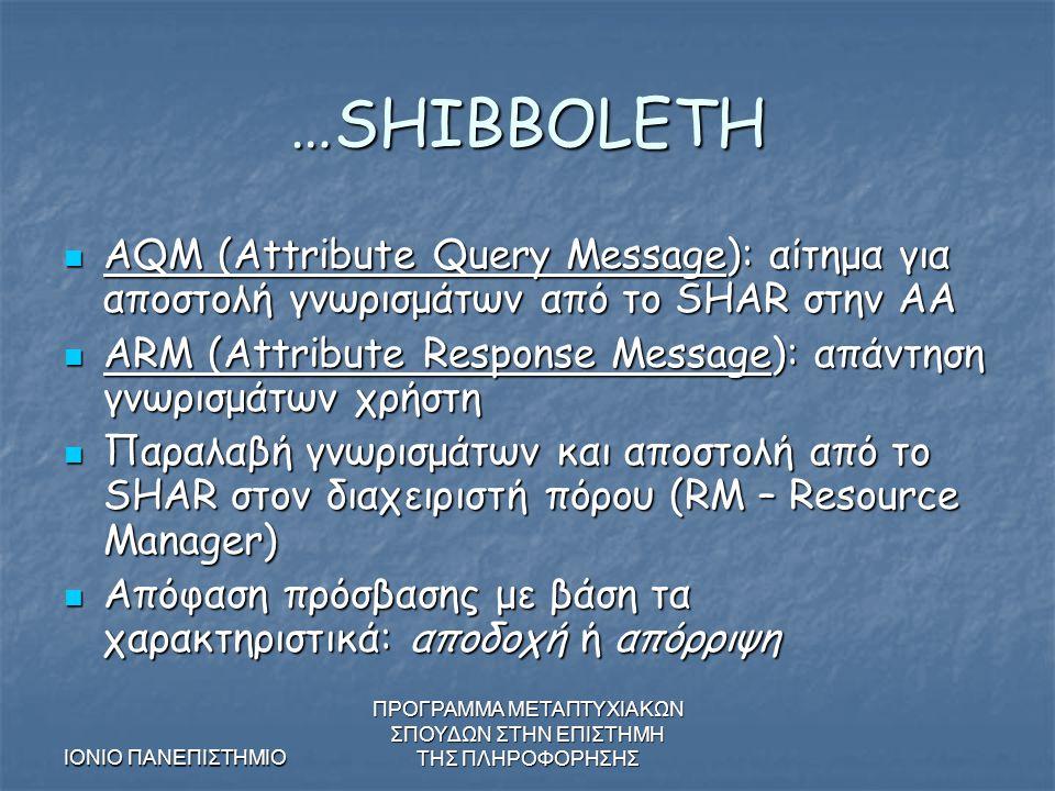 ΙΟΝΙΟ ΠΑΝΕΠΙΣΤΗΜΙΟ ΠΡΟΓΡΑΜΜΑ ΜΕΤΑΠΤΥΧΙΑΚΩΝ ΣΠΟΥΔΩΝ ΣΤΗΝ ΕΠΙΣΤΗΜΗ ΤΗΣ ΠΛΗΡΟΦΟΡΗΣΗΣ …SHIBBOLETH AQM (Attribute Query Message): αίτημα για αποστολή γνωρισμάτων από το SHAR στην AA AQM (Attribute Query Message): αίτημα για αποστολή γνωρισμάτων από το SHAR στην AA ARM (Attribute Response Message): απάντηση γνωρισμάτων χρήστη ARM (Attribute Response Message): απάντηση γνωρισμάτων χρήστη Παραλαβή γνωρισμάτων και αποστολή από το SHAR στον διαχειριστή πόρου (RM – Resource Manager) Παραλαβή γνωρισμάτων και αποστολή από το SHAR στον διαχειριστή πόρου (RM – Resource Manager) Απόφαση πρόσβασης με βάση τα χαρακτηριστικά: αποδοχή ή απόρριψη Απόφαση πρόσβασης με βάση τα χαρακτηριστικά: αποδοχή ή απόρριψη