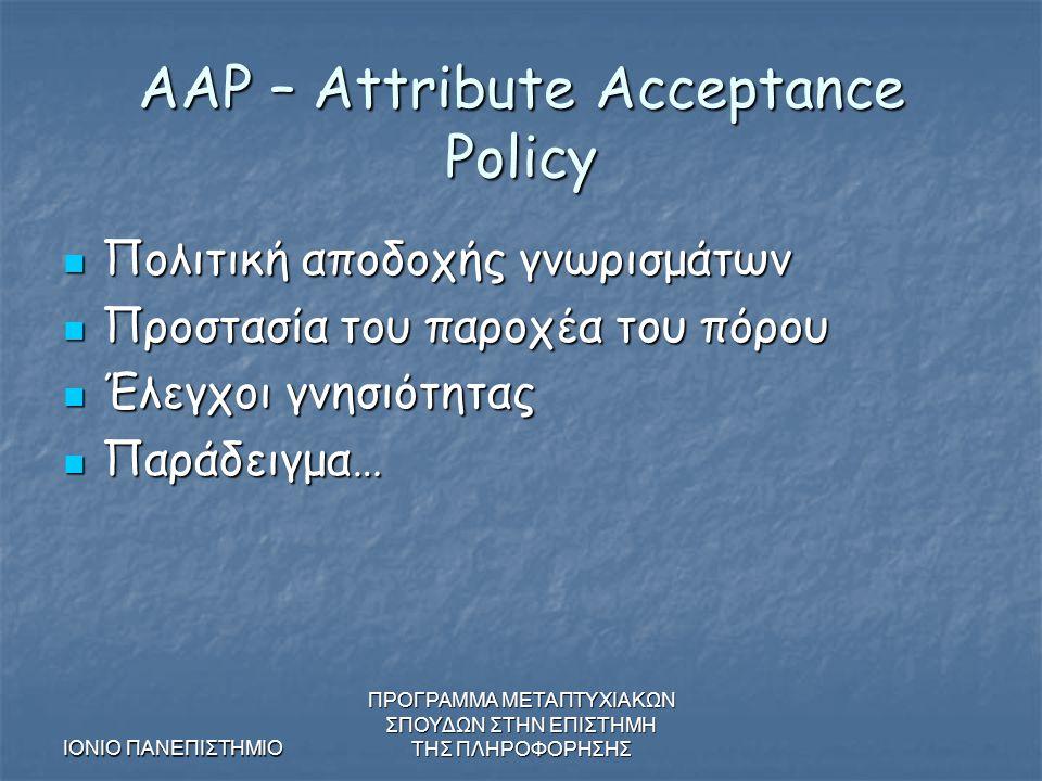 ΙΟΝΙΟ ΠΑΝΕΠΙΣΤΗΜΙΟ ΠΡΟΓΡΑΜΜΑ ΜΕΤΑΠΤΥΧΙΑΚΩΝ ΣΠΟΥΔΩΝ ΣΤΗΝ ΕΠΙΣΤΗΜΗ ΤΗΣ ΠΛΗΡΟΦΟΡΗΣΗΣ AAP – Attribute Acceptance Policy Πολιτική αποδοχής γνωρισμάτων Πολιτική αποδοχής γνωρισμάτων Προστασία του παροχέα του πόρου Προστασία του παροχέα του πόρου Έλεγχοι γνησιότητας Έλεγχοι γνησιότητας Παράδειγμα… Παράδειγμα…