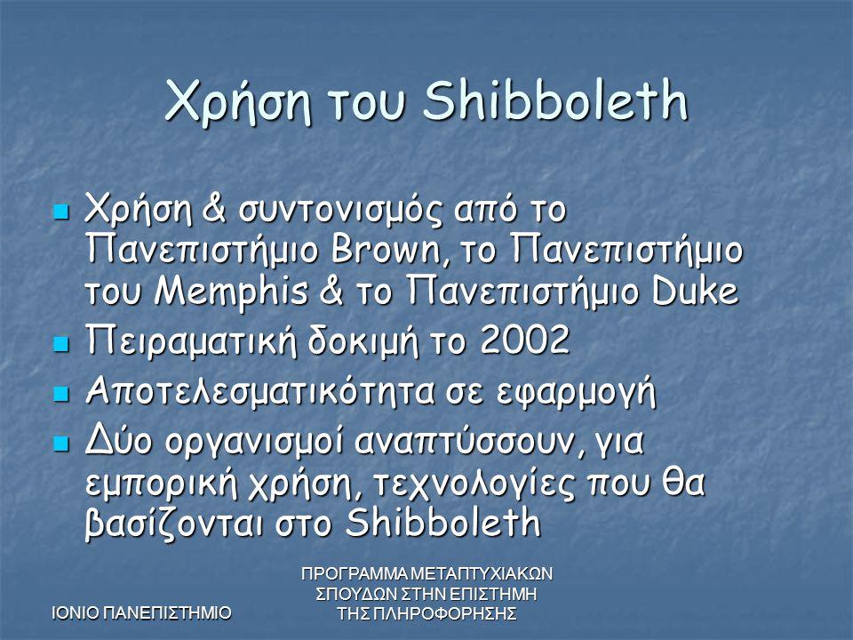 ΙΟΝΙΟ ΠΑΝΕΠΙΣΤΗΜΙΟ ΠΡΟΓΡΑΜΜΑ ΜΕΤΑΠΤΥΧΙΑΚΩΝ ΣΠΟΥΔΩΝ ΣΤΗΝ ΕΠΙΣΤΗΜΗ ΤΗΣ ΠΛΗΡΟΦΟΡΗΣΗΣ Χρήση του Shibboleth Χρήση & συντονισμός από το Πανεπιστήμιο Brown, το Πανεπιστήμιο του Memphis & το Πανεπιστήμιο Duke Χρήση & συντονισμός από το Πανεπιστήμιο Brown, το Πανεπιστήμιο του Memphis & το Πανεπιστήμιο Duke Πειραματική δοκιμή το 2002 Πειραματική δοκιμή το 2002 Αποτελεσματικότητα σε εφαρμογή Αποτελεσματικότητα σε εφαρμογή Δύο οργανισμοί αναπτύσσουν, για εμπορική χρήση, τεχνολογίες που θα βασίζονται στο Shibboleth Δύο οργανισμοί αναπτύσσουν, για εμπορική χρήση, τεχνολογίες που θα βασίζονται στο Shibboleth