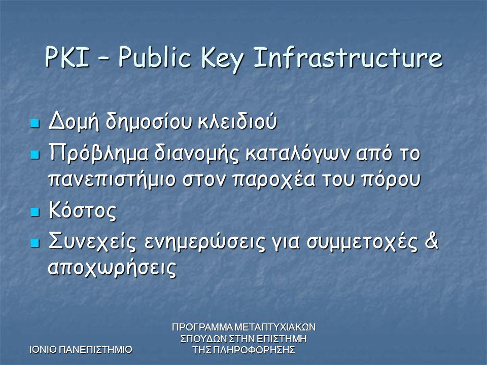 ΙΟΝΙΟ ΠΑΝΕΠΙΣΤΗΜΙΟ ΠΡΟΓΡΑΜΜΑ ΜΕΤΑΠΤΥΧΙΑΚΩΝ ΣΠΟΥΔΩΝ ΣΤΗΝ ΕΠΙΣΤΗΜΗ ΤΗΣ ΠΛΗΡΟΦΟΡΗΣΗΣ PKI – Public Key Infrastructure Δομή δημοσίου κλειδιού Δομή δημοσίου κλειδιού Πρόβλημα διανομής καταλόγων από το πανεπιστήμιο στον παροχέα του πόρου Πρόβλημα διανομής καταλόγων από το πανεπιστήμιο στον παροχέα του πόρου Κόστος Κόστος Συνεχείς ενημερώσεις για συμμετοχές & αποχωρήσεις Συνεχείς ενημερώσεις για συμμετοχές & αποχωρήσεις