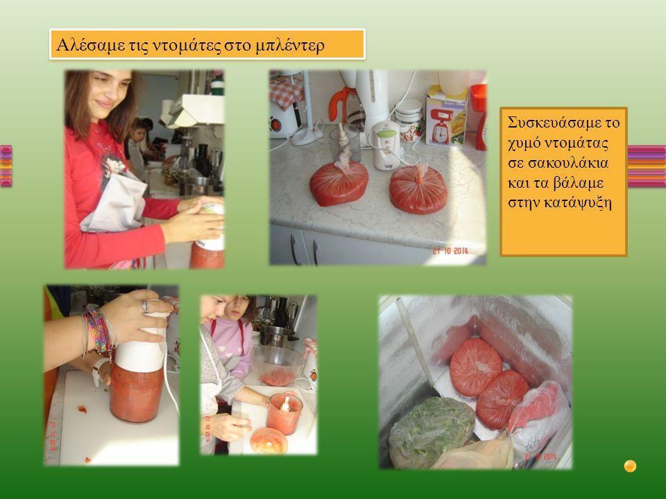 Αλέσαμε τις ντομάτες στο μπλέντερ Συσκευάσαμε το χυμό ντομάτας σε σακουλάκια και τα βάλαμε στην κατάψυξη