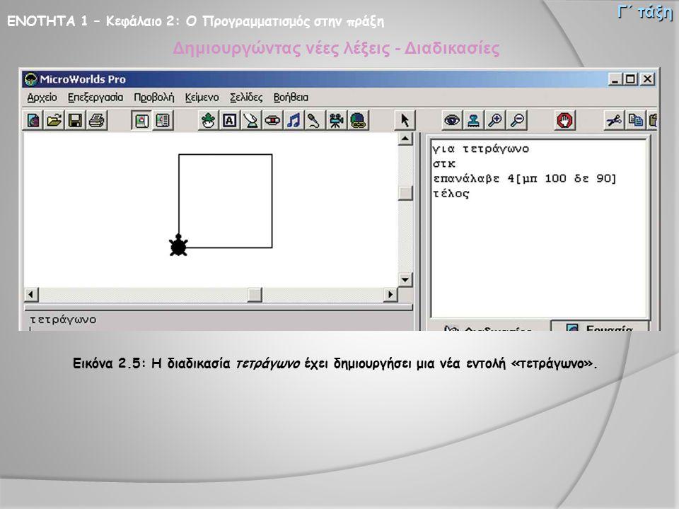 ΕΝΟΤΗΤΑ 1 – Κεφάλαιο 2: Ο Προγραμματισμός στην πράξη Γ΄ τάξη Δημιουργώντας νέες λέξεις - Διαδικασίες Εικόνα 2.5: Η διαδικασία τετράγωνο έχει δημιουργή