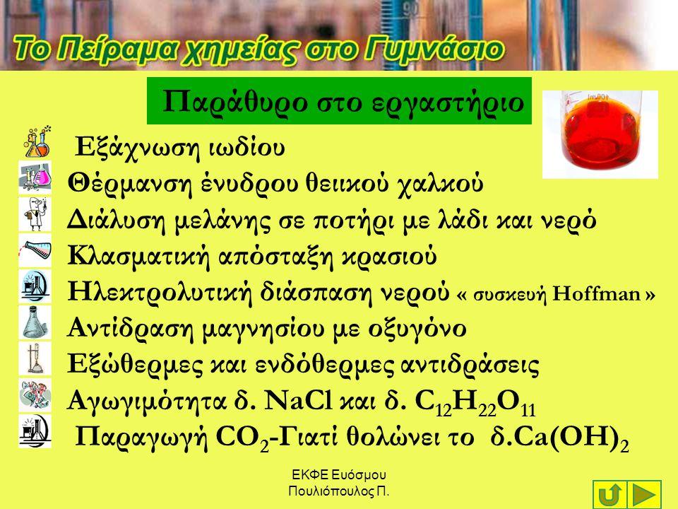 ΕΚΦΕ Ευόσμου Πουλιόπουλος Π. Παράθυρο στο εργαστήριο Εξάχνωση ιωδίου Θέρμανση ένυδρου θειικού χαλκού Διάλυση μελάνης σε ποτήρι με λάδι και νερό Κλασμα