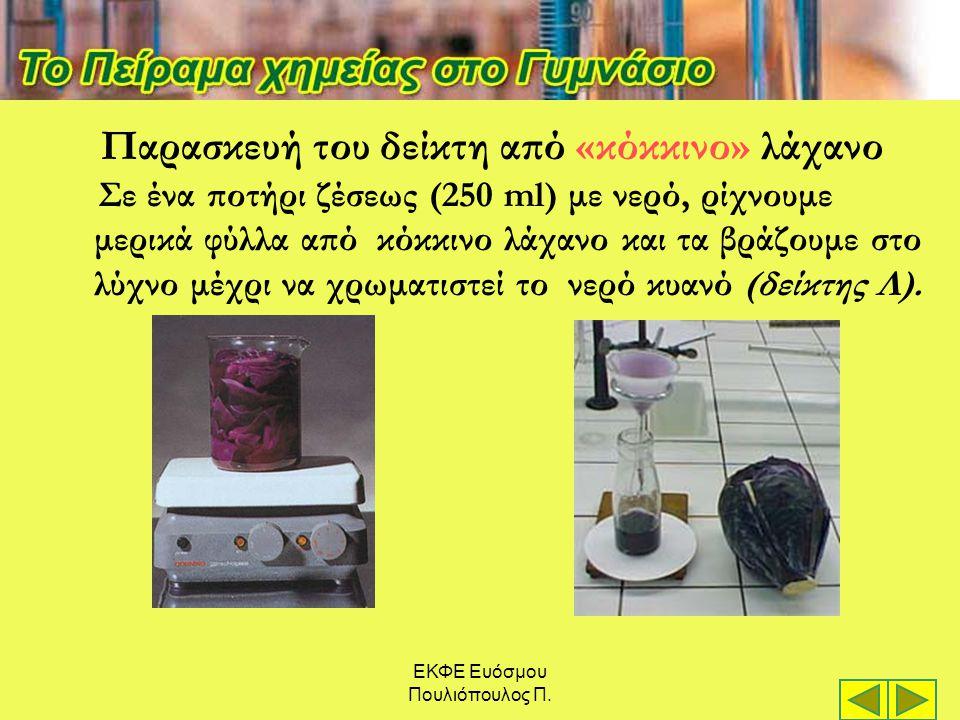 ΕΚΦΕ Ευόσμου Πουλιόπουλος Π. Παρασκευή του δείκτη από «κόκκινο» λάχανο Σε ένα ποτήρι ζέσεως (250 ml) με νερό, ρίχνουμε μερικά φύλλα από κόκκινο λάχανο
