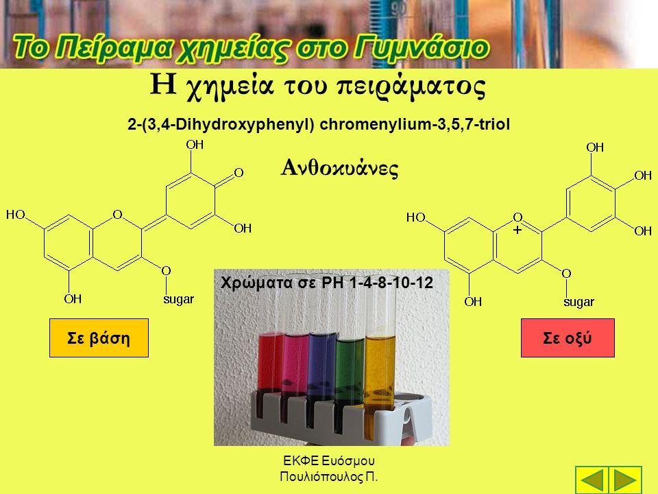 Σε βάσηΣε οξύ 2-(3,4-Dihydroxyphenyl) chromenylium-3,5,7-triol Χρώματα σε PH 1-4-8-10-12 Η χημεία του πειράματος Ανθοκυάνες