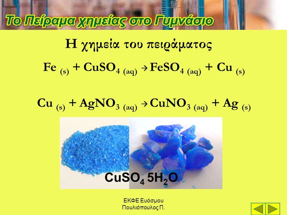 ΕΚΦΕ Ευόσμου Πουλιόπουλος Π. Η χημεία του πειράματος Fe (s) + CuSO 4 (aq)  FeSO 4 (aq) + Cu (s) Cu (s) + AgNO 3 (aq)  CuNO 3 (aq) + Ag (s) CuSO 4 5H