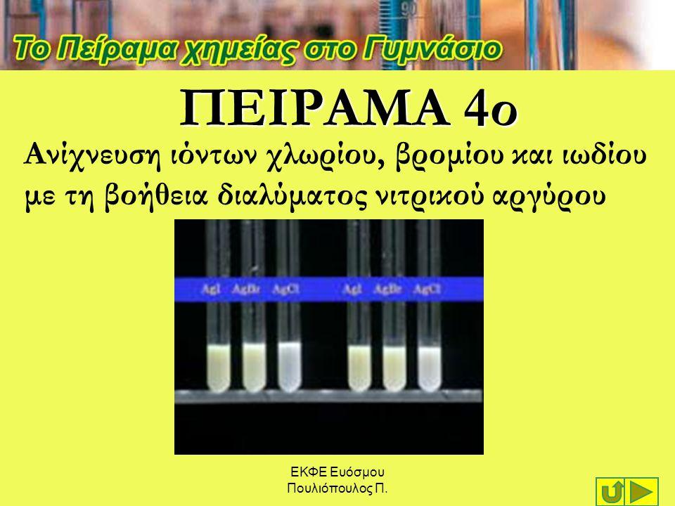 ΠΕΙΡΑΜΑ 4ο Ανίχνευση ιόντων χλωρίου, βρομίου και ιωδίου με τη βοήθεια διαλύματος νιτρικού αργύρου