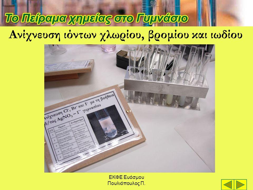 ΕΚΦΕ Ευόσμου Πουλιόπουλος Π. Ανίχνευση ιόντων χλωρίου, βρομίου και ιωδίου