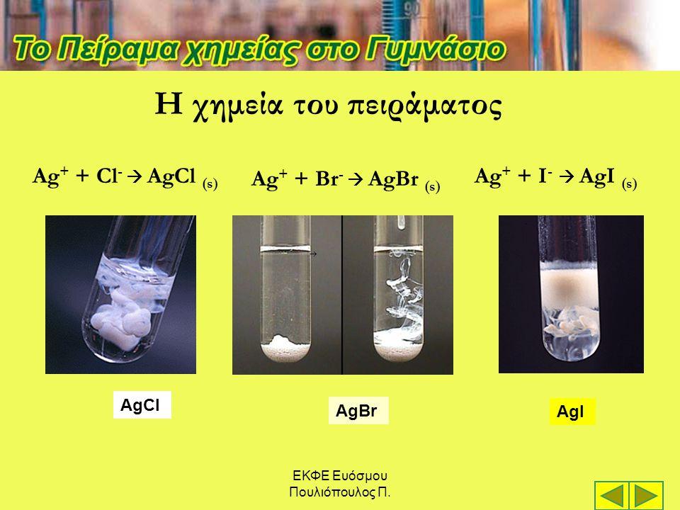ΕΚΦΕ Ευόσμου Πουλιόπουλος Π. AgCl AgBr AgI Η χημεία του πειράματος Ag + + Cl -  AgCl (s) Ag + + Br -  AgBr (s) Ag + + I -  AgI (s)