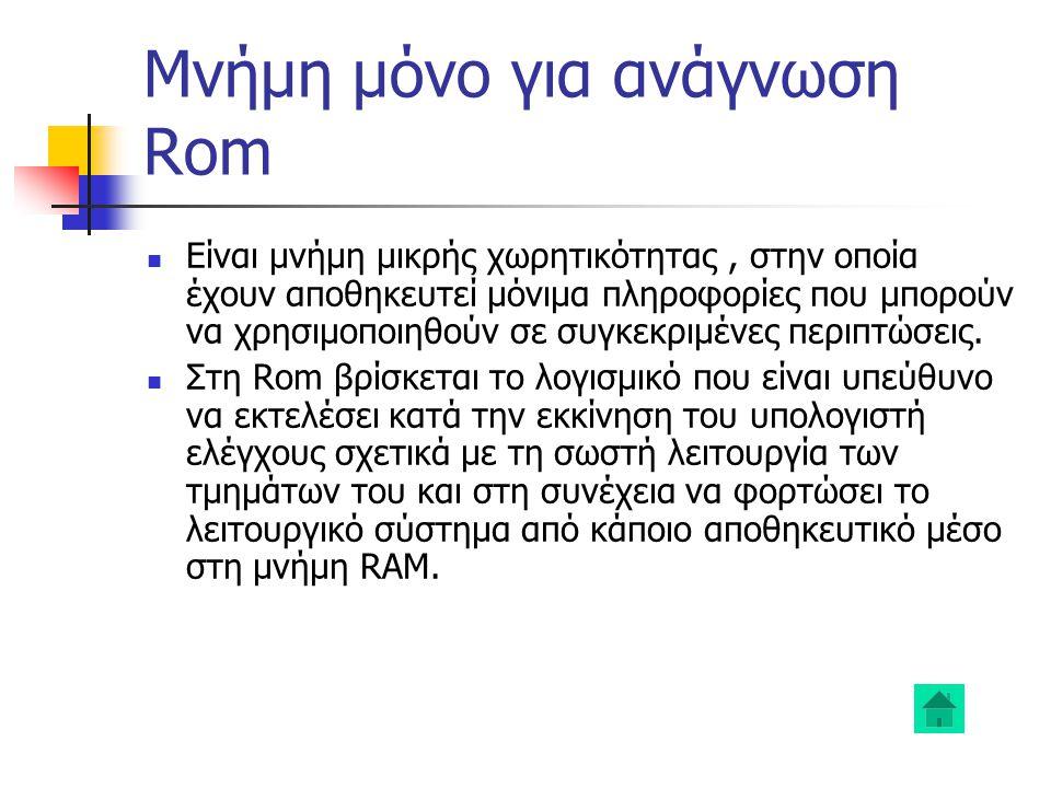 Μνήμη μόνο για ανάγνωση Rom Είναι μνήμη μικρής χωρητικότητας, στην οποία έχουν αποθηκευτεί μόνιμα πληροφορίες που μπορούν να χρησιμοποιηθούν σε συγκεκριμένες περιπτώσεις.
