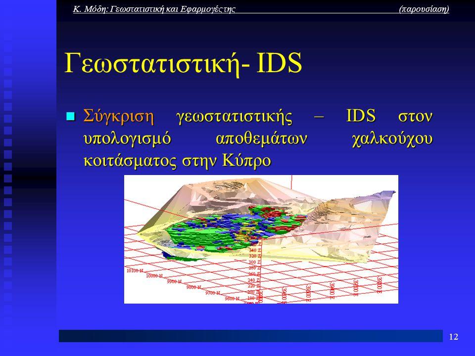 Κ. Μόδη: Γεωστατιστική και Εφαρμογές της (παρουσίαση) 12 Γεωστατιστική- IDS Σύγκριση γεωστατιστικής – IDS στον υπολογισμό αποθεμάτων χαλκούχου κοιτάσμ