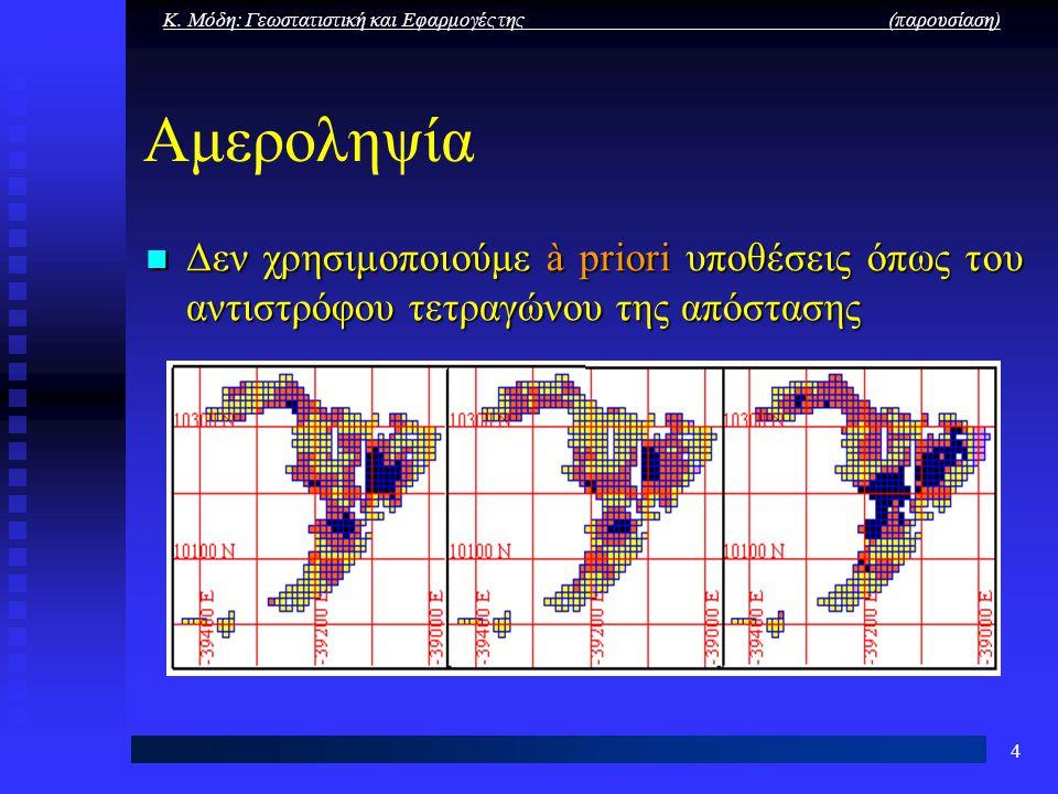 Κ. Μόδη: Γεωστατιστική και Εφαρμογές της (παρουσίαση) 4 Αμεροληψία Δεν χρησιμοποιούμε à priori υποθέσεις όπως του αντιστρόφου τετραγώνου της απόστασης