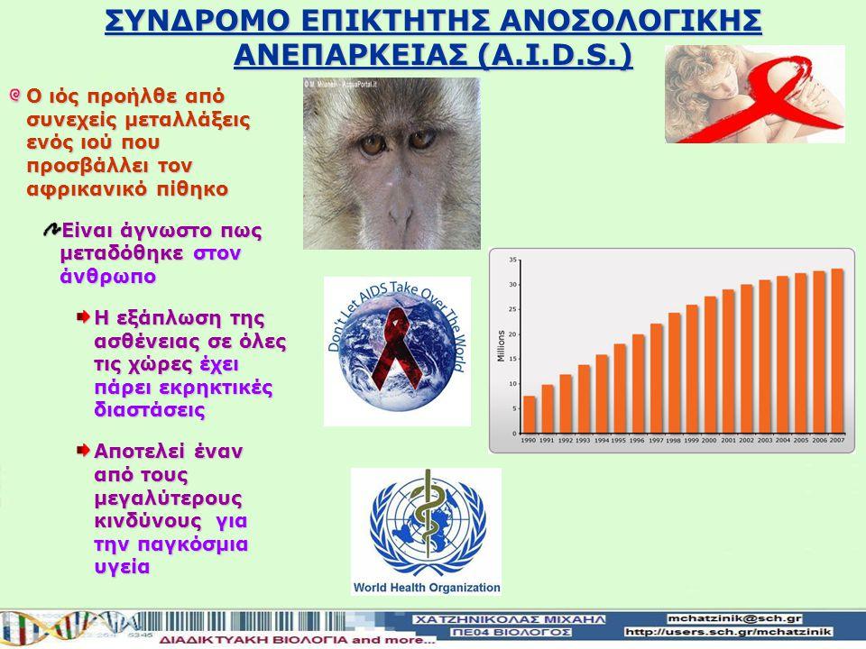 ΣΥΝΔΡΟΜΟ ΕΠΙΚΤΗΤΗΣ ΑΝΟΣΟΛΟΓΙΚΗΣ ΑΝΕΠΑΡΚΕΙΑΣ (A.I.D.S.) Ανοσολογική ανεπάρκεια Η εξασθενημένη λειτουργία του ανοσοβιολογικού συστήματος ενός οργανισμού Είναι συνήθως επίκτητη Α.Ι.D.S.