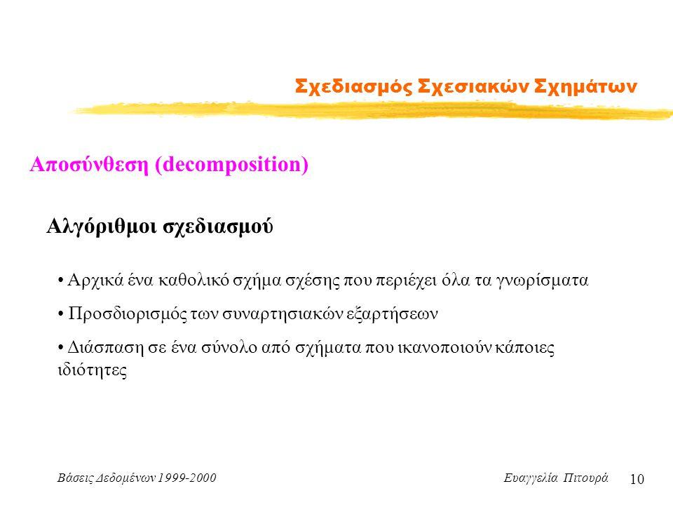 Βάσεις Δεδομένων 1999-2000 Ευαγγελία Πιτουρά 10 Σχεδιασμός Σχεσιακών Σχημάτων Αλγόριθμοι σχεδιασμού Αρχικά ένα καθολικό σχήμα σχέσης που περιέχει όλα