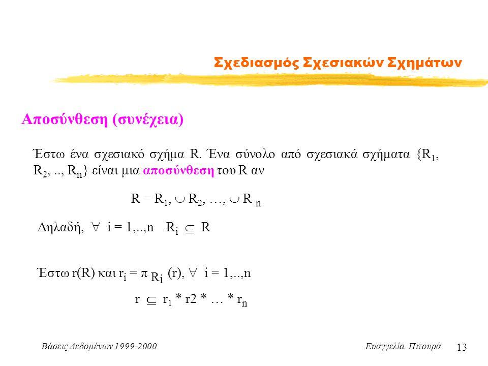 Βάσεις Δεδομένων 1999-2000 Ευαγγελία Πιτουρά 13 Σχεδιασμός Σχεσιακών Σχημάτων Έστω ένα σχεσιακό σχήμα R. Ένα σύνολο από σχεσιακά σχήματα {R 1, R 2,..,