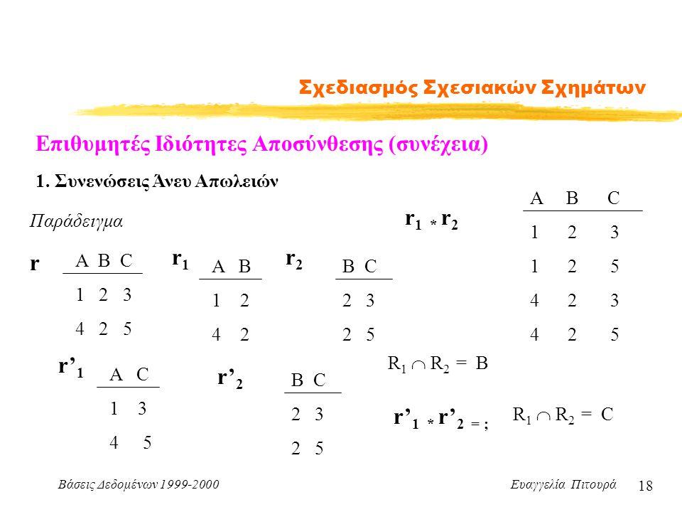 Βάσεις Δεδομένων 1999-2000 Ευαγγελία Πιτουρά 18 Σχεδιασμός Σχεσιακών Σχημάτων Παράδειγμα Α B C 1 2 3 4 2 5 r A B 1 2 4 2 r1r1 r2r2 B C 2 3 2 5 r 1 * r